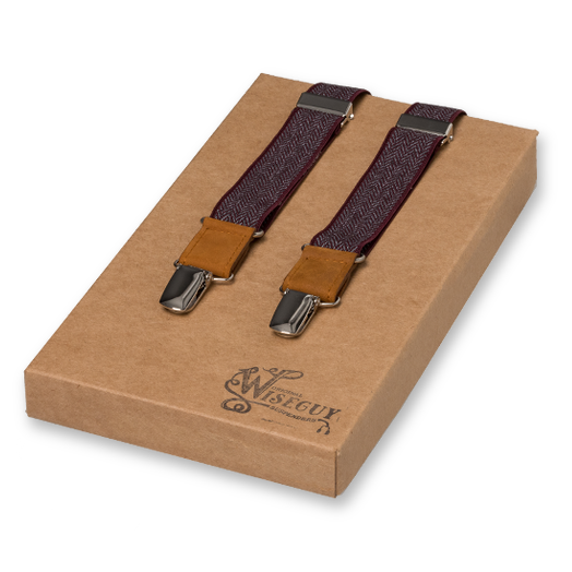 Wiseguy Suspenders - Herringbone Bordeauxrood (1)