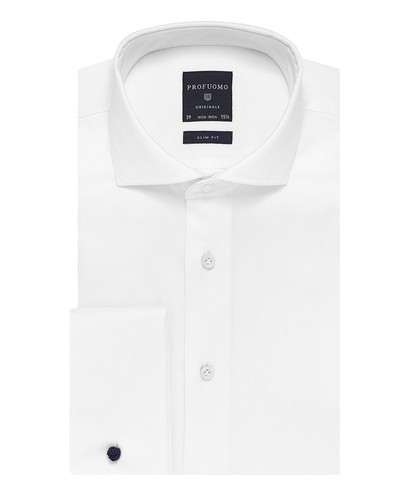 Profuomo Overhemd - Two Ply - Wit - Slim Fit - Twill - Double Cuff (1)