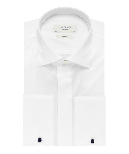 Profuomo Smoking Overhemd - Wit - Slim Fit - Twill - Double Cuff (1)