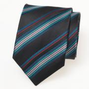 Zijden zwarte stropdas met mulicolor streep