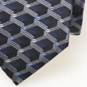 Zijden stropdas zwart/ blauw - detail